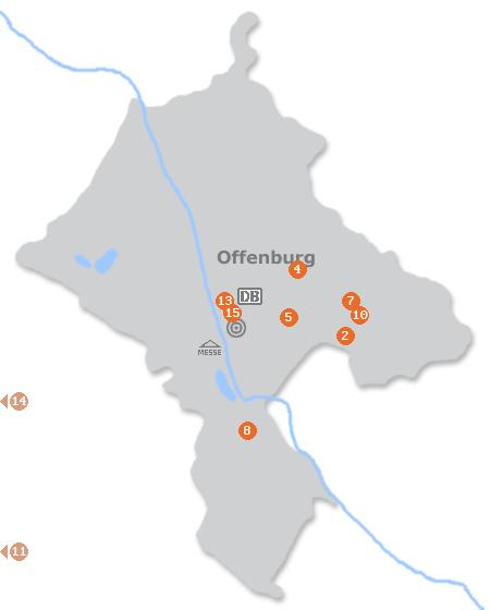 Karte mit Pensionen und anderen Unterkünften in Offenburg