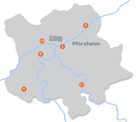 Karte mit Pensionen und anderen Unterkünften in Pforzheim