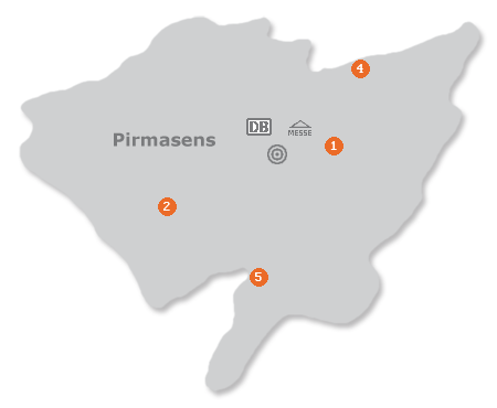 Karte mit Pensionen und anderen Unterkünften in Pirmasens