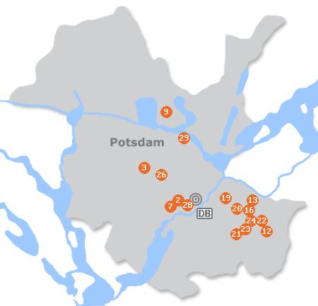 Karte mit Pensionen und anderen Unterkünften in Potsdam