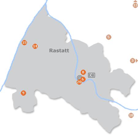 Karte mit Pensionen und anderen Unterkünften in Rastatt