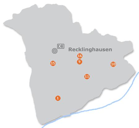 Karte mit Pensionen und anderen Unterkünften in Recklinghausen