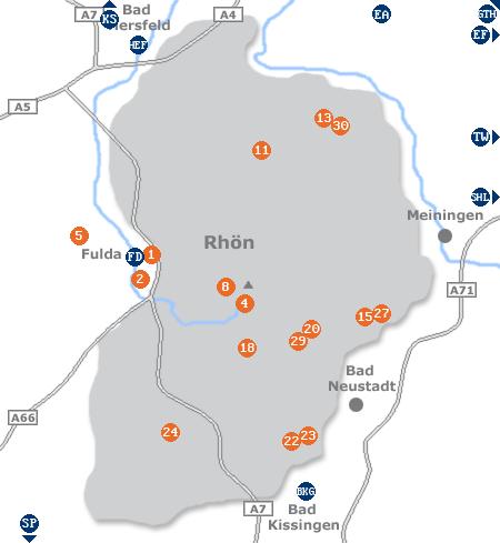 Karte mit Pensionen und anderen Unterkünften in der Rhön