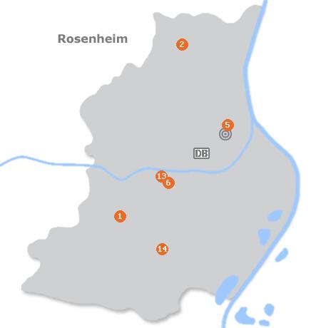 Karte mit Pensionen und anderen Unterkünften in Rosenheim