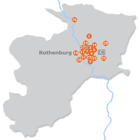 Karte mit Pensionen und anderen Unterkünften in Rothenburg
