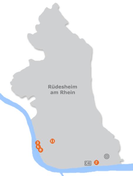 Karte mit Pensionen und anderen Unterkünften in Rüdesheim am Rhein