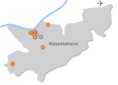 Karte mit Pensionen und anderen Unterkünften in Rüsselsheim