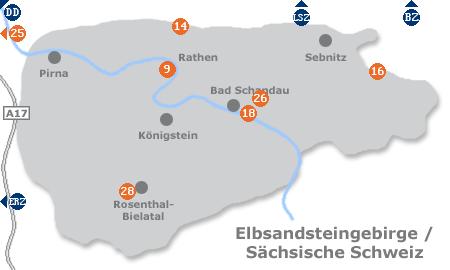 Karte mit Pensionen und anderen Unterkünften in der Sächsischen Schweiz