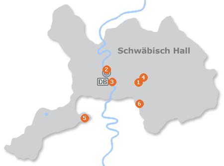 Karte mit Pensionen und anderen Unterkünften in Schwäbisch Hall
