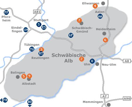 Karte mit Pensionen und anderen Unterkünften in der Schwäbischen Alb