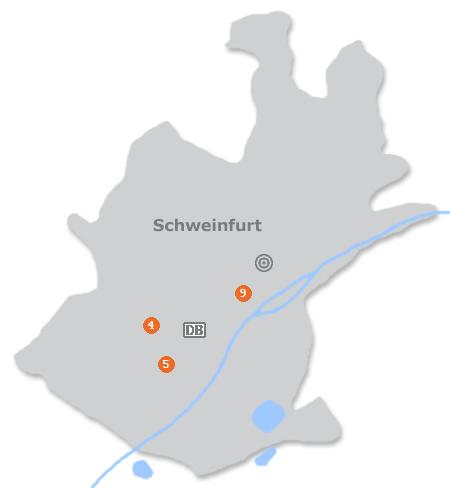 Karte mit Pensionen und anderen Unterkünften in Schweinfurt