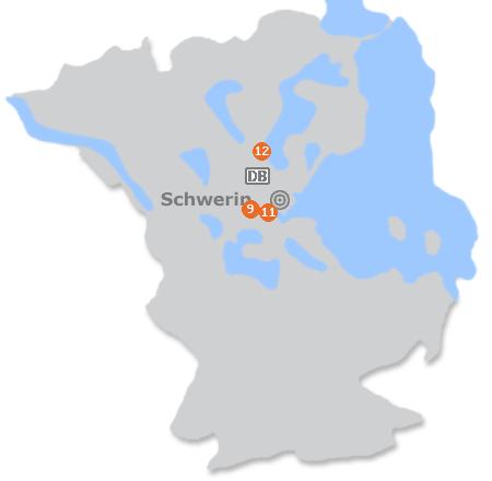 Karte mit Pensionen und anderen Unterkünften in Schwerin
