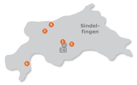 Karte mit Pensionen und anderen Unterkünften in Sindelfingen