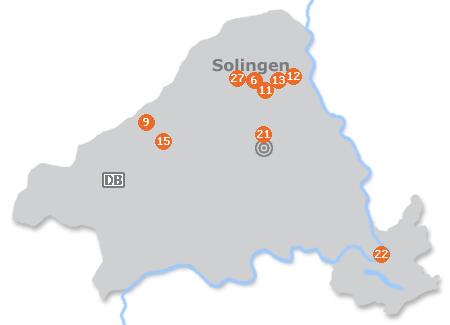 Karte mit Pensionen und anderen Unterkünften in Solingen