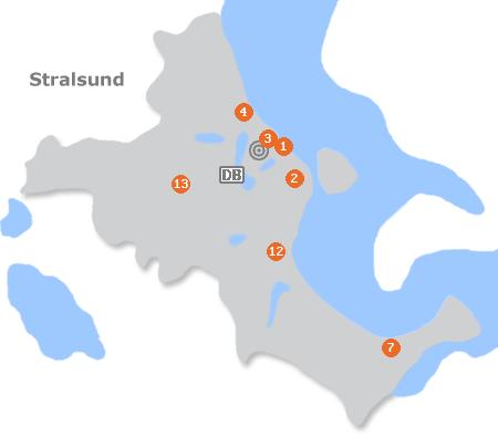 Karte mit Pensionen und anderen Unterkünften in Stralsund