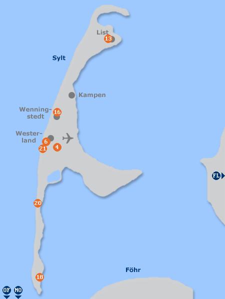 Karte mit Pensionen und anderen Unterkünften auf Sylt