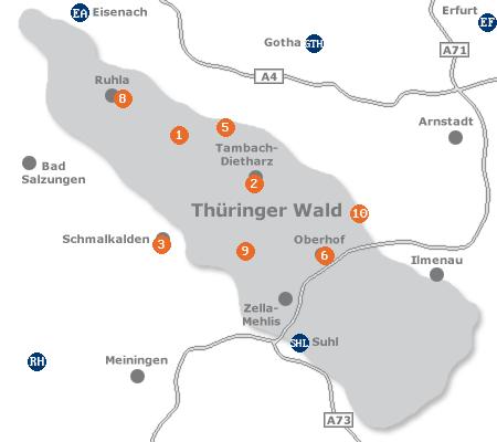 Karte mit Pensionen und anderen Unterkünften im Thüringer Wald