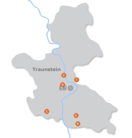 Karte mit Pensionen und anderen Unterkünften in Traunstein