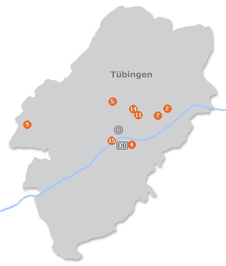 Karte mit Pensionen und anderen Unterkünften in Tübingen