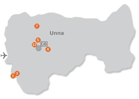 Karte mit Pensionen und anderen Unterkünften in Unna