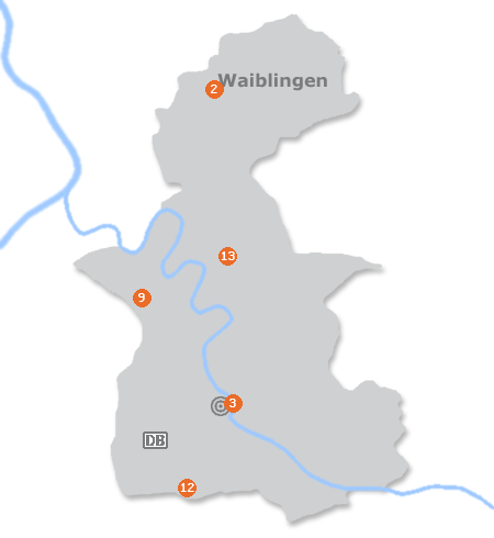 Karte mit Pensionen und anderen Unterkünften in Waiblingen