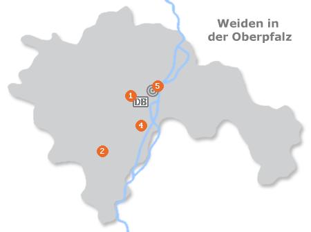 Karte mit Pensionen und anderen Unterkünften in Weiden in der Oberpfalz