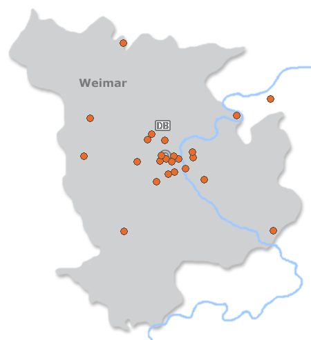 Karte mit Pensionen und anderen Unterkünften in Weimar
