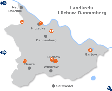 Karte mit Pensionen und anderen Unterkünften im Wendland