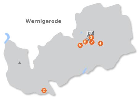 Karte mit Pensionen und anderen Unterkünften in Wernigerode