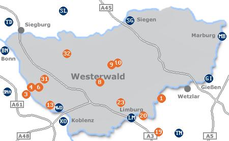 Karte mit Pensionen und anderen Unterkünften im Westerwald