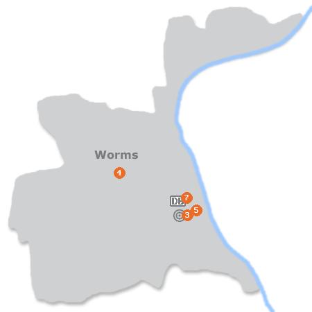 Karte mit Pensionen und anderen Unterkünften in Worms