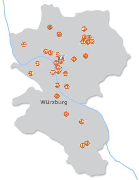 Karte mit Pensionen und anderen Unterkünften in Würzburg