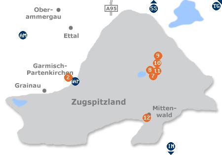 Karte mit Pensionen und anderen Unterkünften im Zugspitzland