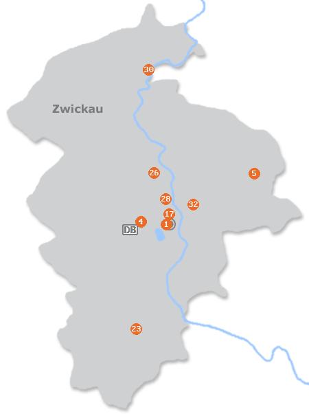 Karte mit Pensionen und anderen Unterkünften in Zwickau