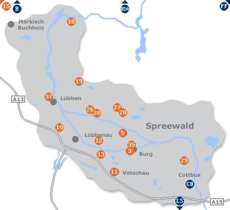 Karte mit Pensionen und anderen Unterkünften im Spreewald