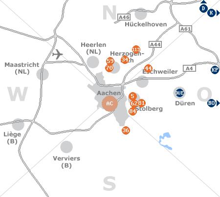 Karte mit Pensionen und anderen Unterkünften rund um Aachen