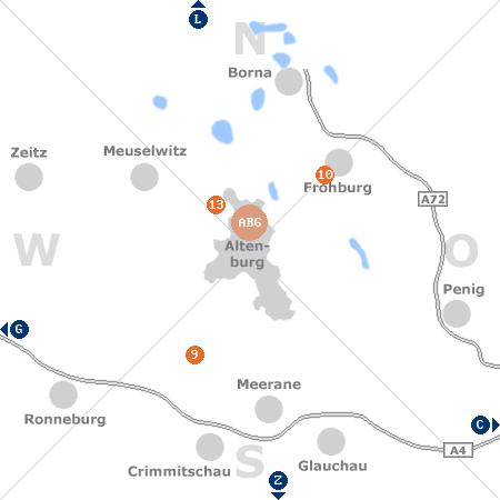 Karte mit Pensionen und anderen Unterkünften rund um Altenburg