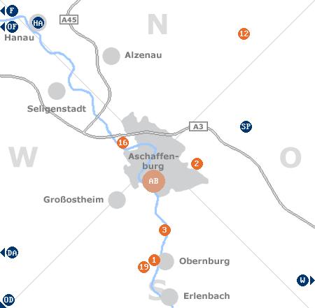 Karte mit Pensionen und anderen Unterkünften rund um Aschaffenburg