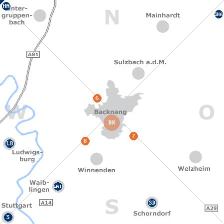 Karte mit Pensionen und anderen Unterkünften rund um Backnang