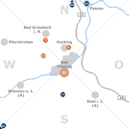 Karte mit Pensionen und anderen Unterkünften rund um Bad Füssing