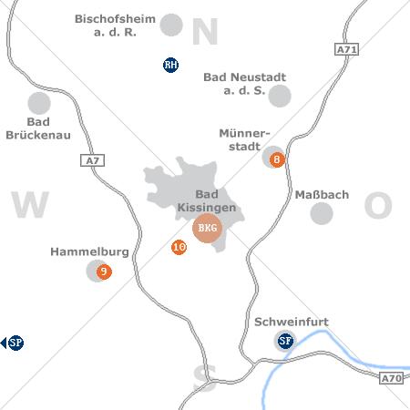 Karte mit Pensionen und anderen Unterkünften rund um Bad Kissingen