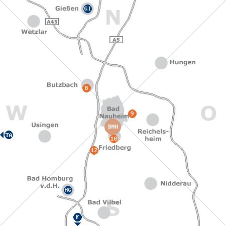 Karte mit Pensionen und anderen Unterkünften rund um Bad Nauheim