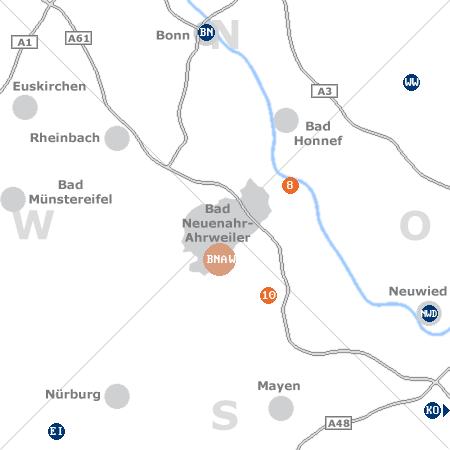 Karte mit Pensionen und anderen Unterkünften rund um Bad Neuenahr-Ahrweiler