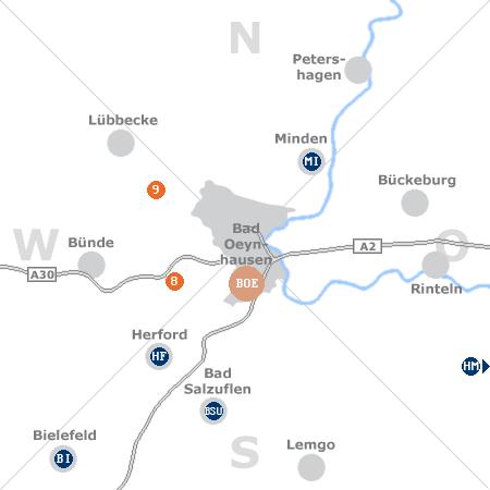Karte mit Pensionen und anderen Unterkünften rund um Bad Oeynhausen