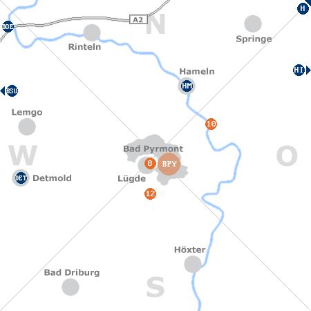 Karte mit Pensionen und anderen Unterkünften rund um Bad Pyrmont