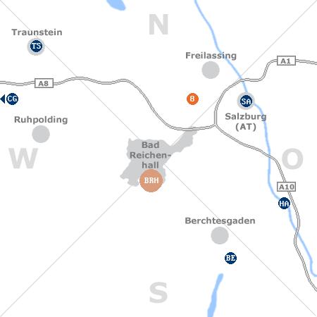 Karte mit Pensionen und anderen Unterkünften rund um Bad Reichenhall