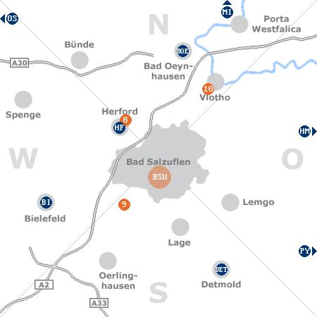 Karte mit Pensionen und anderen Unterkünften rund um Bad Salzuflen