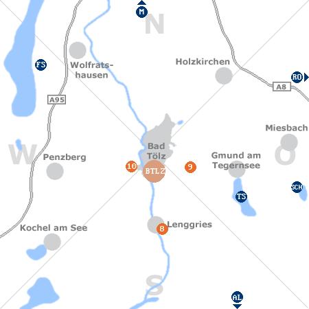 Karte mit Pensionen und anderen Unterkünften rund um Bad Tölz