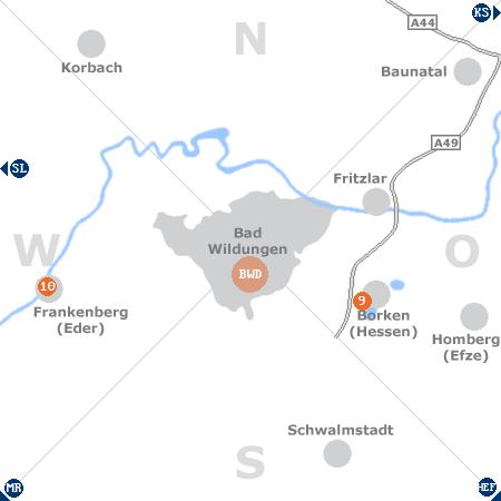 Karte mit Pensionen und anderen Unterkünften rund um Bad Wildungen
