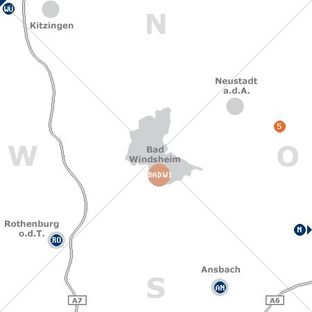 Karte mit Pensionen und anderen Unterkünften rund um Bad Windsheim